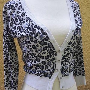 White house Black market leopard cardigan XS